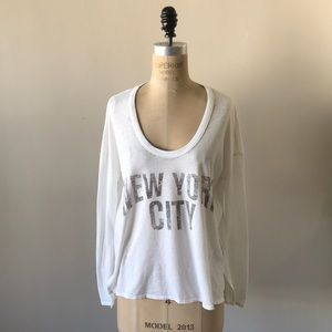Chaser white New York City Burn Out T-Shirt